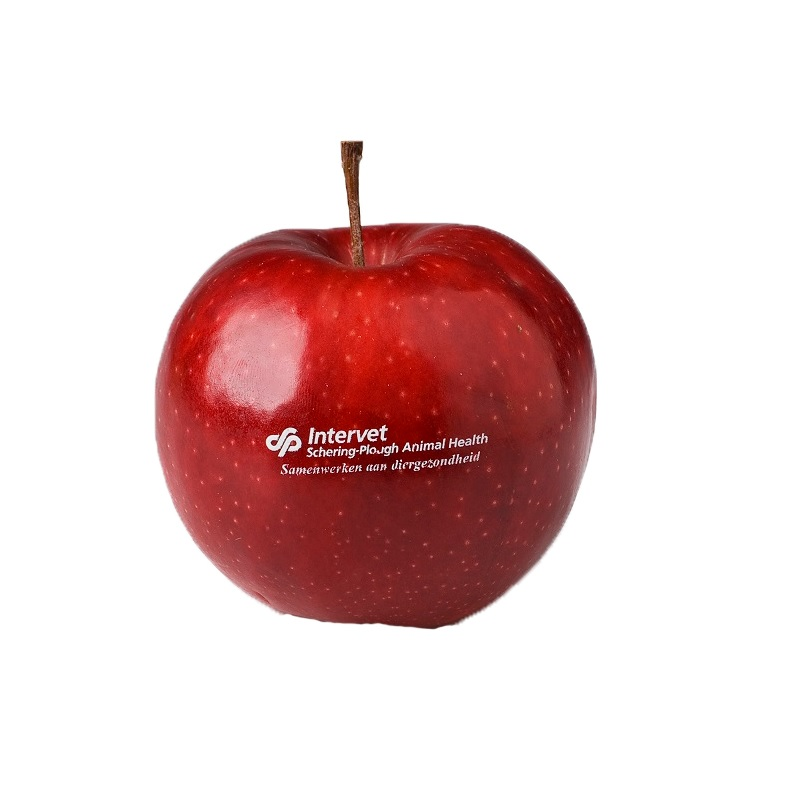 Apple with printed logo